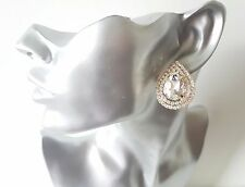 Gorgeous large gold tone & crystal - diamante CLIP ON button - stud earrings #16