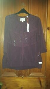 LADIES SUPERDRY BURGANDY LONG SLEEVED TOP NEW WITH TAGS SZ 14 L 34.99 ON TAG