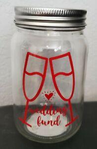 Mason Jar Wedding Funds Savings Piggy Bank Coins Money Gift Decor Engagement