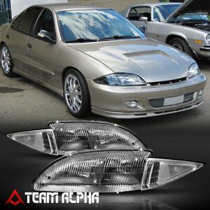 Fits 1995-1999 Chevy Cavalier[Black/Clear]Crystal Corner Headlight Headlamp Lamp