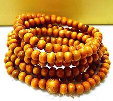 Women Men Yellow Wood Bead Mala Multilayers Tibet Buddhism Prayer Beads Bracelet