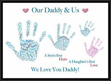 Daddy Dad Gift Fathers Day Birthday Personalised Family Hand Print Grandad Nanny