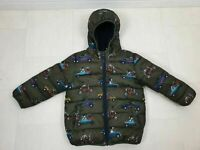 NEXT Boys Green Car Dog Padded Autumn Winter Hooded Coat Jacket Size 3-4 Year