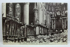 POSTCARD: St Martin Cathedral, Ypres, Belgium, after the bombardment; Unposted