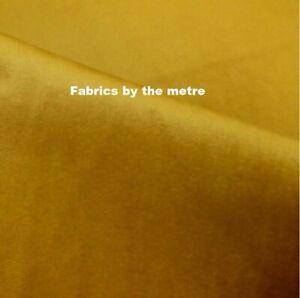 Mustard Gold  Plush Plain FIRE RETARDANT Velvet Upholstery / Curtain Fabric