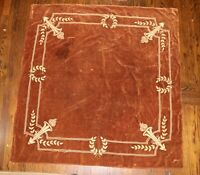 large antique square hand embroidered metal thread velour embroidery tablecloth