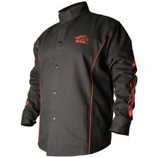 Revco Black Stallion FR Cotton Welding Jacket Black with Red Flames BX9C Large