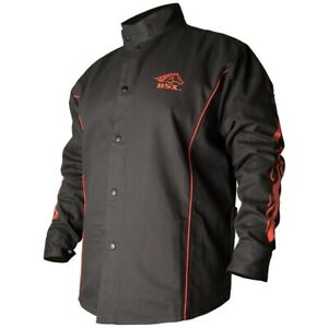 Welding Jacket Black with Red Flames Black Stallion FR Cotton BX9C X-Large