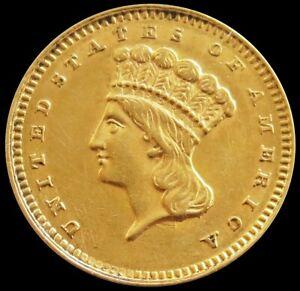 1862 GOLD UNITED STATES CIVIL WAR ERA TYPE 3 PRINCESS HEAD $1 COIN AU