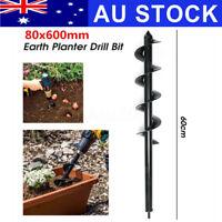 80mm 24'' Garden Auger Power Earth Planter Shaft Spiral Drill Bit Petrol Tool AU