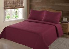 MIDWEST BURGUNDY NENA SOLID QUILT BEDDING BEDSPREAD COVERLET PILLOW CASES SET