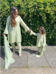 Eid collection pakistani girls mother daughter combo matching shalwar kameez