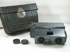 Verascope Stereo Camera Jules Richard, 45x107 mm with Case, 12 Holders & Caps