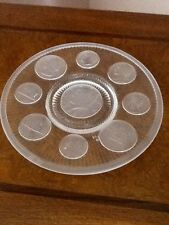 Decorative Plate, Etched w Presidential Crystal Coins, Imperial Glassware, Mint