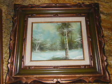 Vintage estate oil painting with frame Winter Landscape by Clara Inness signed