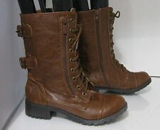 new ladies Tan Lace Rugged Combat Riding Winter Sexy Ankle Boots Size 7.5