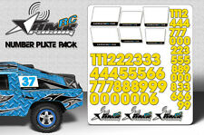 RC Number plate sticker pack 1/8 1/10 Scale body universal fit race decals-Yello