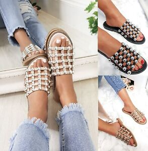 LADIES WOMENS STUDDED CAGE SLIDES FLAT SUMMER BLING SLIDERS SANDALS SHOES SIZE