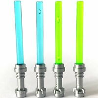 2 x STAR WARS lego BRIGHT GREEN & 2 x BLUE LIGHTSABERS jedi sith minifig weapons