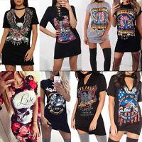 Women Summer Casual Printed Loose T-Shirt Mini Dress Party Clubwear Short Sleeve