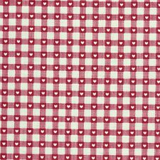 Scandi Christmas Gingham & Hearts in Red Linen Look Cotton Fabric Makower - FQ