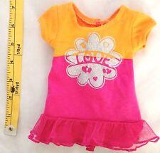 "Orange Pink Print 4.5X7.5"" (laying flat) Dress Doll Clothes"
