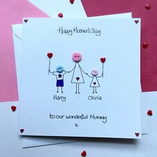 Personalised Handmade button Mothers Mother's Day card boy girl son daughter