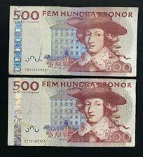 More details for sweden. 2 x 500 swedish kronor banknotes. lot: 2771.