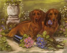 DACHSHUND LONG SMOOTH HAIRED GERMAN SAUSAGE DOG FINE ART LIMITED EDITION PRINT