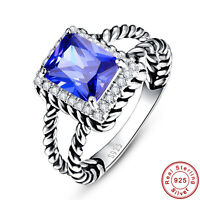 3.6CT Emerald Cut Tanzanite Solid 100% 925 Sterling Silver Ring Size L½ N½ P½ R½