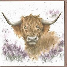 Country Set Greeting Card by Wrendale Designs  -   Highland Cow