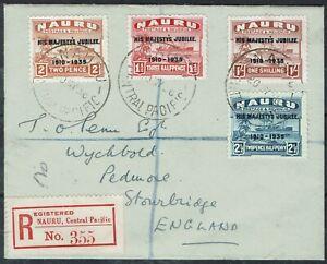 NAURU 1935 KGV SILVER JUBILEE REGISTERED COVER TO ENGLAND