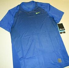 NIKE PRO COOL SS ENG PRT T SHIRT NWT BLUE MEN SIZE XXL FITTED 744065-480 SPANDEX