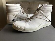 RICK OWENS OFF WHITE DISTRESSED LEATHER GEOTHRASHER HIGH TOP SNEAKERS BOOT 42 9