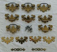 Lot 14 Vintage Brass Chippendale 8 Batwing Drawer Pulls, 6 decorative and bolts