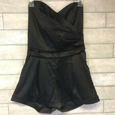 NWT MP Black Metropark black satin Romper strapless Size Medium