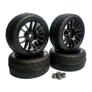 1/10 RC Road Wheels Tyres Double Spoke Black for Tamiya TT02 TT01 Fazer 12mm Hex