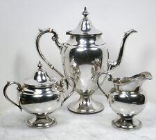 Antique GORHAM Sterling Silver Tea Set. 3 Piece Teapot, Sugar Bowl, Creamer