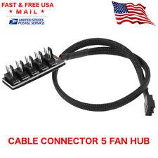 PC Fan Power 1 Female To 5 Male 4-pin Socket Fan Hub Splitter Cable Cooler USA