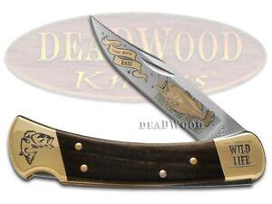 Buck 110 Wild Life Series Bass Folding Hunter Stainless Custom Pocket Knife