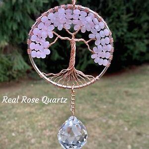 Gemstone Sun Catcher,Rose Quartz Tree of Life,Crystal Window Suncatcher,Wiccan