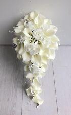 Artificial Flowers Ivory Calla Lily Rose Wedding Shower Teardrop BRIDE Bouquet