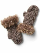 NEW Athleta Vincent Pradier Faux Fur Chunky Cable Knit Wool Blend Mittens Brown