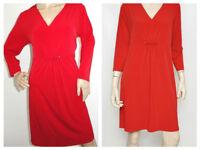 Michael Kors Matte Jersey V-Neck Ruched 3/4 Sleeve Shift Dress Red 10 $130