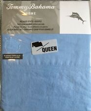 NEW Tommy Bahama Solid Blue QUEEN Sheet Set Stone Washed Relaxed State Cotton