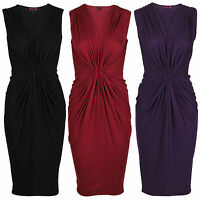 NEW WOMENS LADIES GATHERED DRAPE FRONT V NECK BODYCON MIDI DAY DRESS SIZE 8-14