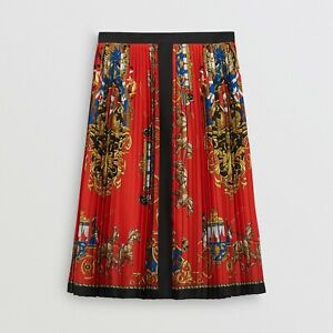 Burberry Archive scarf print bright red pleated skirt, Size 06 XS, RRP £790