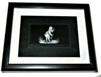 "Framed & Matted Reverse Relief White on Black Stone Man Art, 7 1/2"" x 9"""