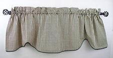 Valence Waverly Timeless Ticking Black Tan Cream Stripe Scalloped Curtain Corded