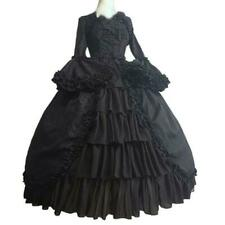 Victorian Gothic Vintage Long Ssleeve Bows Ball Gown Maxi Prom Party Dresses UK